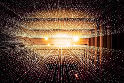 Photo de plusieurs faisceaux de lumière de couleur or