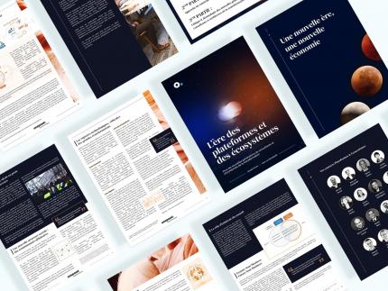 Mockup des articles sur une nouvelle ère, une nouvelle économie et l'ère des plateformes et des écosystèmes