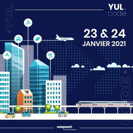 Visuel de la promotion du YUL.code qui est une compétition de style « hackathon » créé et organisée par onepoint. on y voit un dessin d'une ville avec des bâtiments, des voitures et un train. Ce dessin est sur fond bleu foncé et en haut gauche il y a le logo onepoint Québecois et en haut à droit les logos suivants : Montréal centre-ville et celui de Interexpert inc.