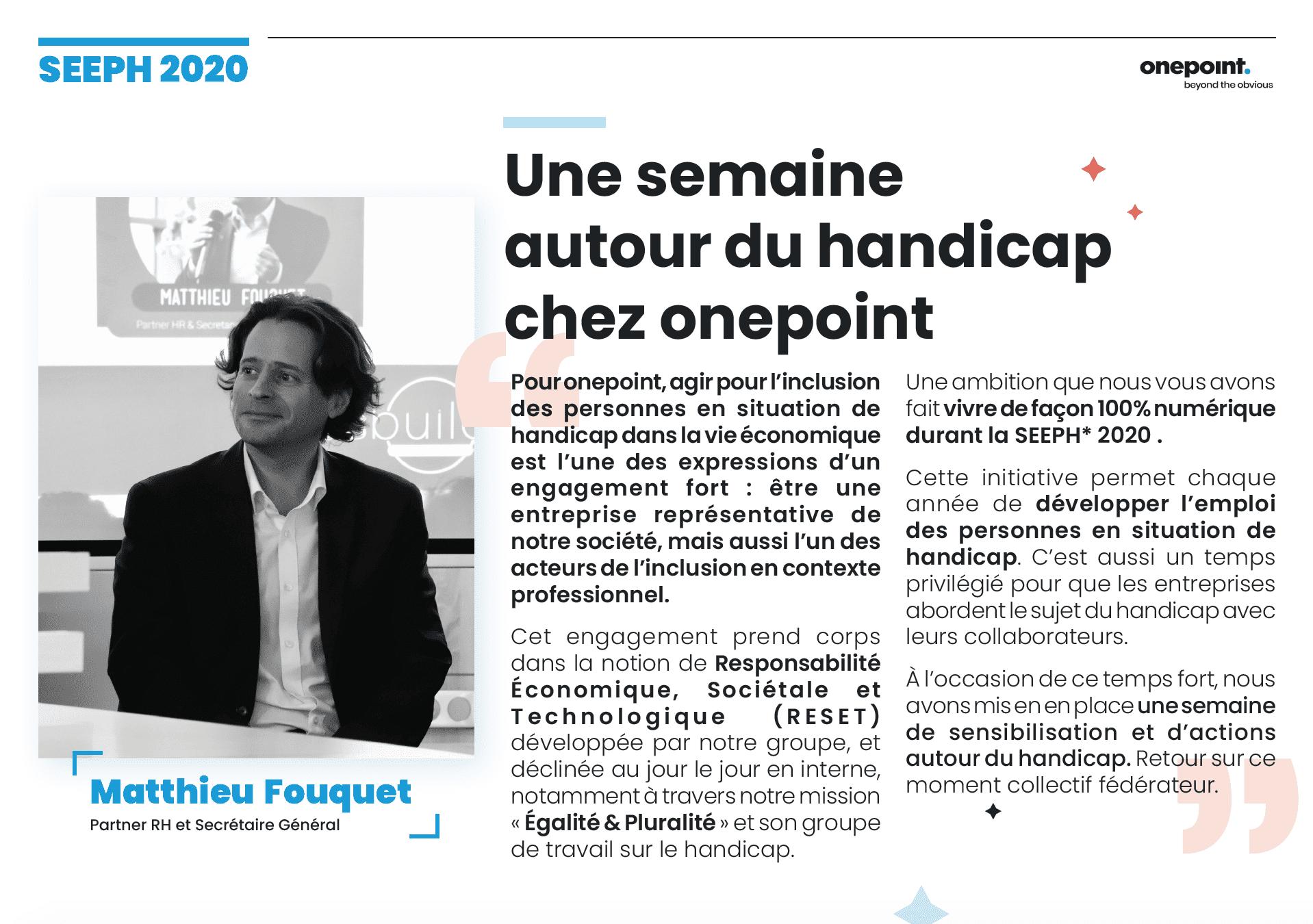 édito de Mathieu Fouquet, partner RH de onepoint, dans un journal interne sur le handicap