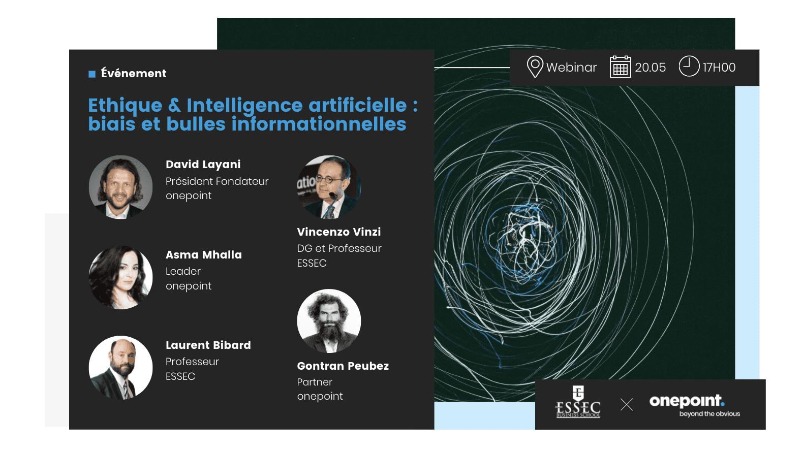 Visuel présentant l'événement inaugural du partenariat stratégique de onepoint avec le Metalab de l'ESSEC sur la dimension éthique et intelligence artificielle, du 20 mai 2021