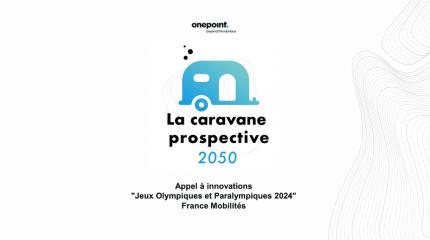 """Dessin de la caravane prospective 2050 en bleu accompagné de la légende suivante : La caravane prospective 2050, Appel à innovations """"Jeux olympiques et paralympiques 2050"""