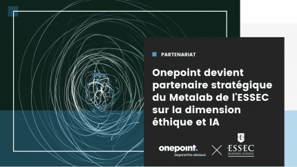 """visuel d'une tempête dessinée à trait fin avec écrit à côté """"partenariat, onepoint devient partenaire stratégique du Métalab de l'Essec sur la dimension éthique et IA"""