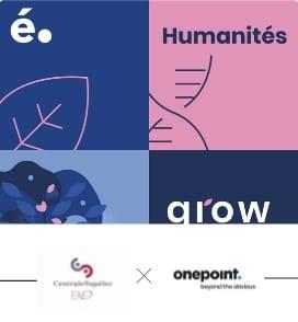"""Visuel de la formation """"Humanités"""" onepoint avec le logo CentraleSupélec Exed et le logo onepoint"""