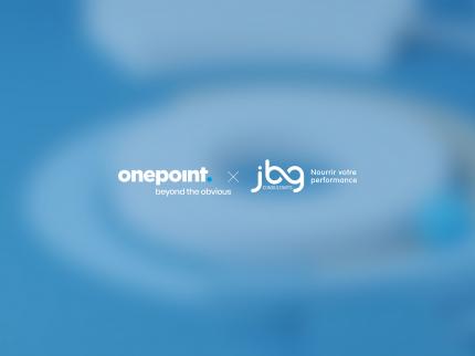 Image rassemblant les logos de onepoint et JBG Consultants pour l'acquisition du cabinet spécialiste de la filière alimentaire par onepoint